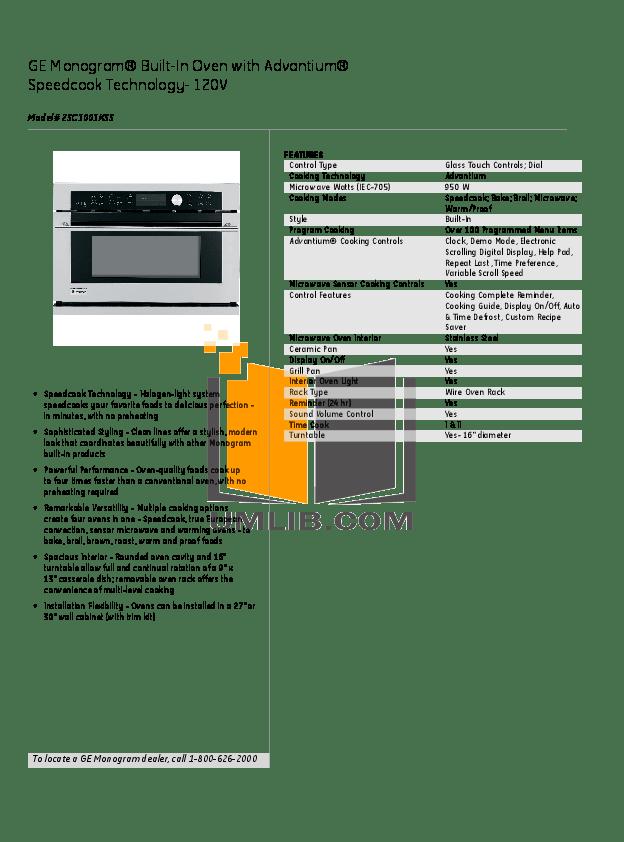 Download free pdf for GE Monogram Advantium ZSC1001KSS