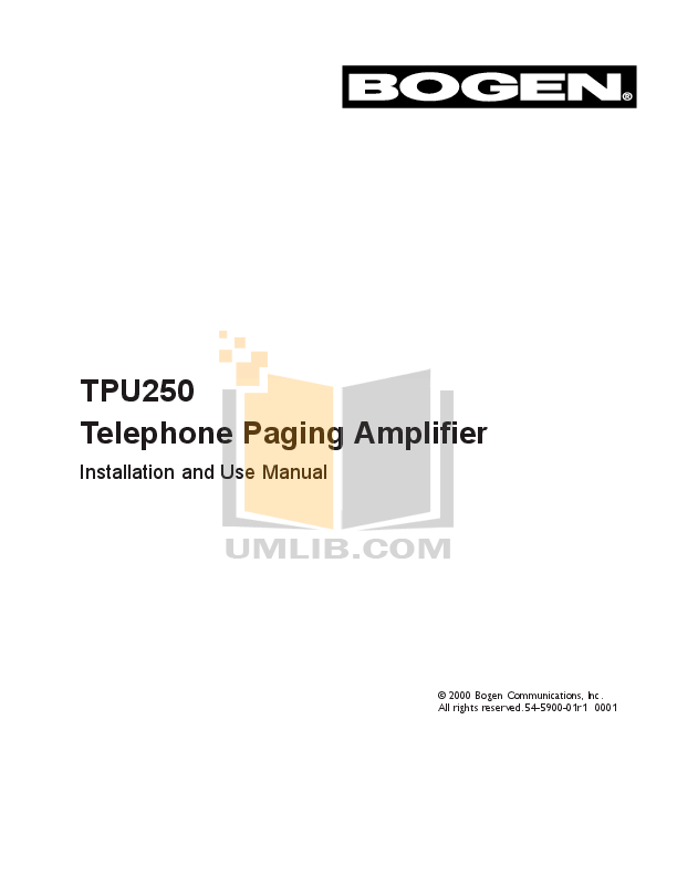 Download free pdf for Bogen TAM-B Telephone Access Module