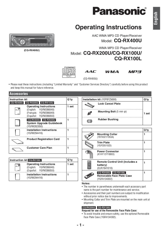 hight resolution of pdf for panasonic car receiver cq rx100u manual