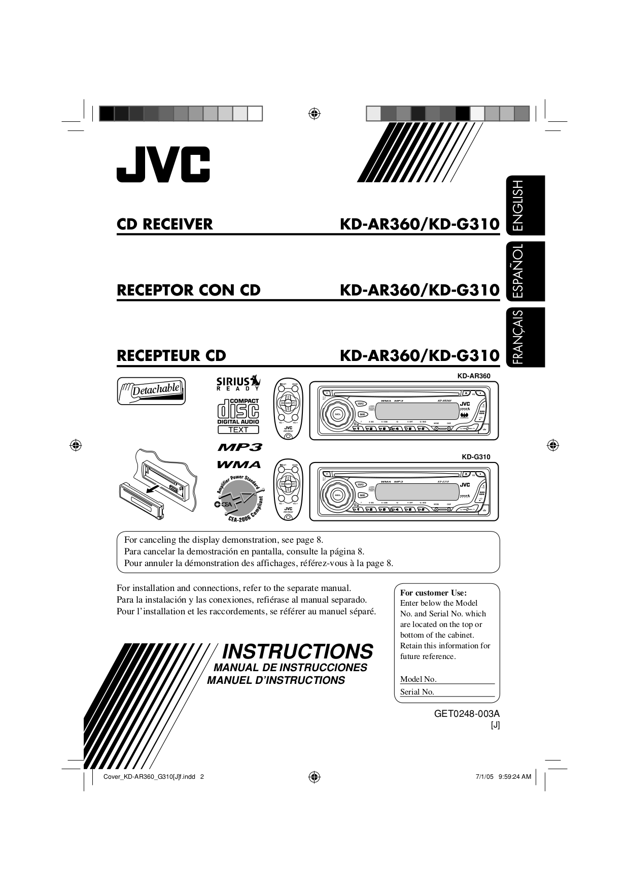 Download free pdf for JVC KD-AR360 Car Receiver manual