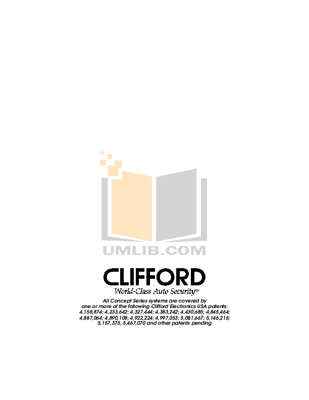 PDF manual for DEI Other Clifford Concept 50x Car Alarms