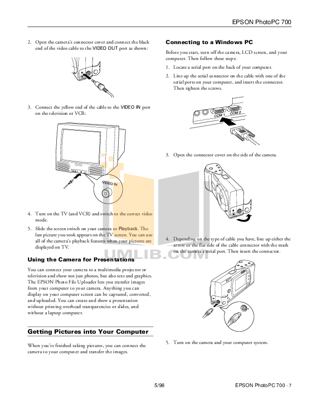 PDF manual for Epson Digital Camera PhotoPC 700