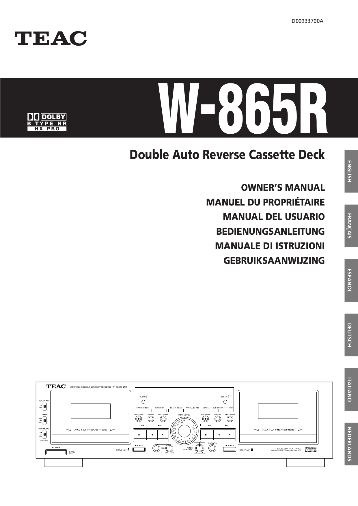 Download free pdf for Teac W-865R Cassette Deck Other manual