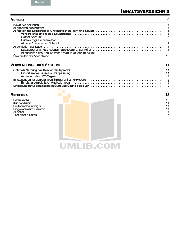 PDF manual for Bose Speaker System Acoustimass 6 Series III