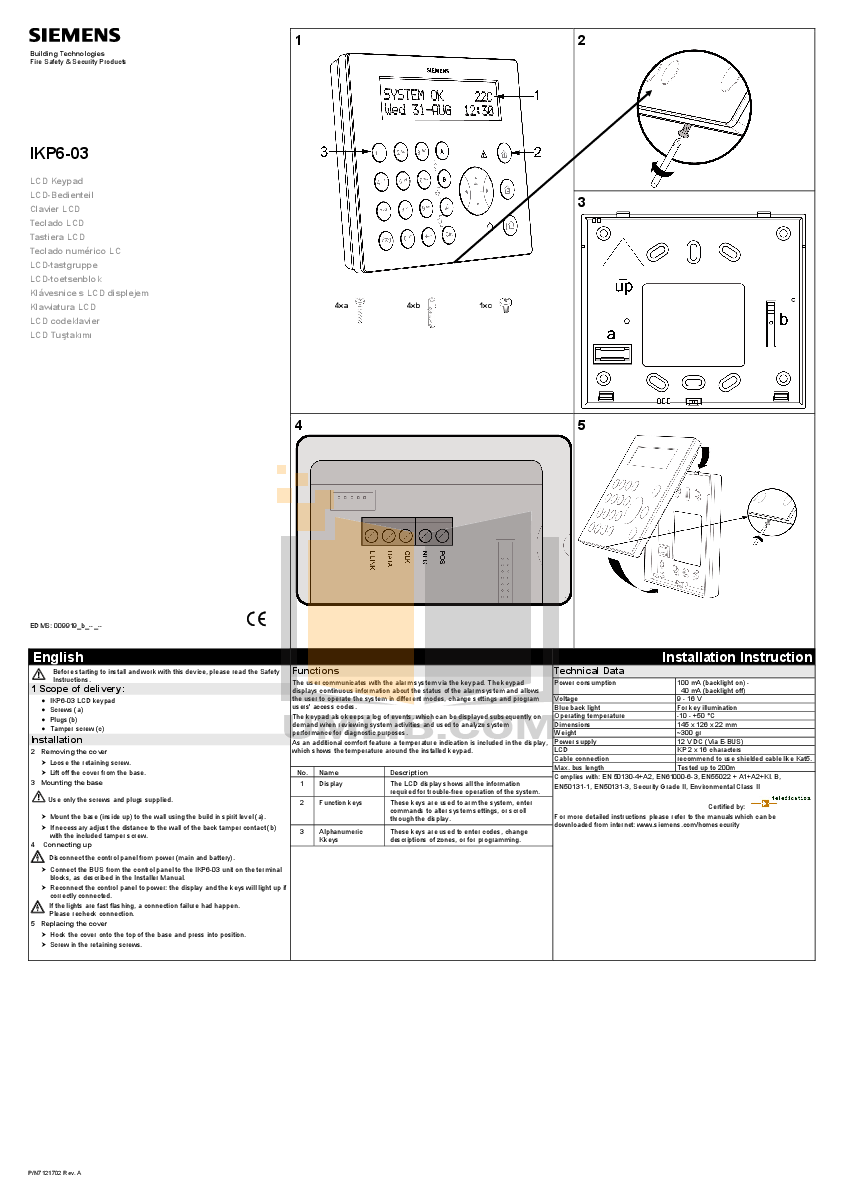 Download free pdf for Amx DAS-KP-LCD-G LCD Keypads Other