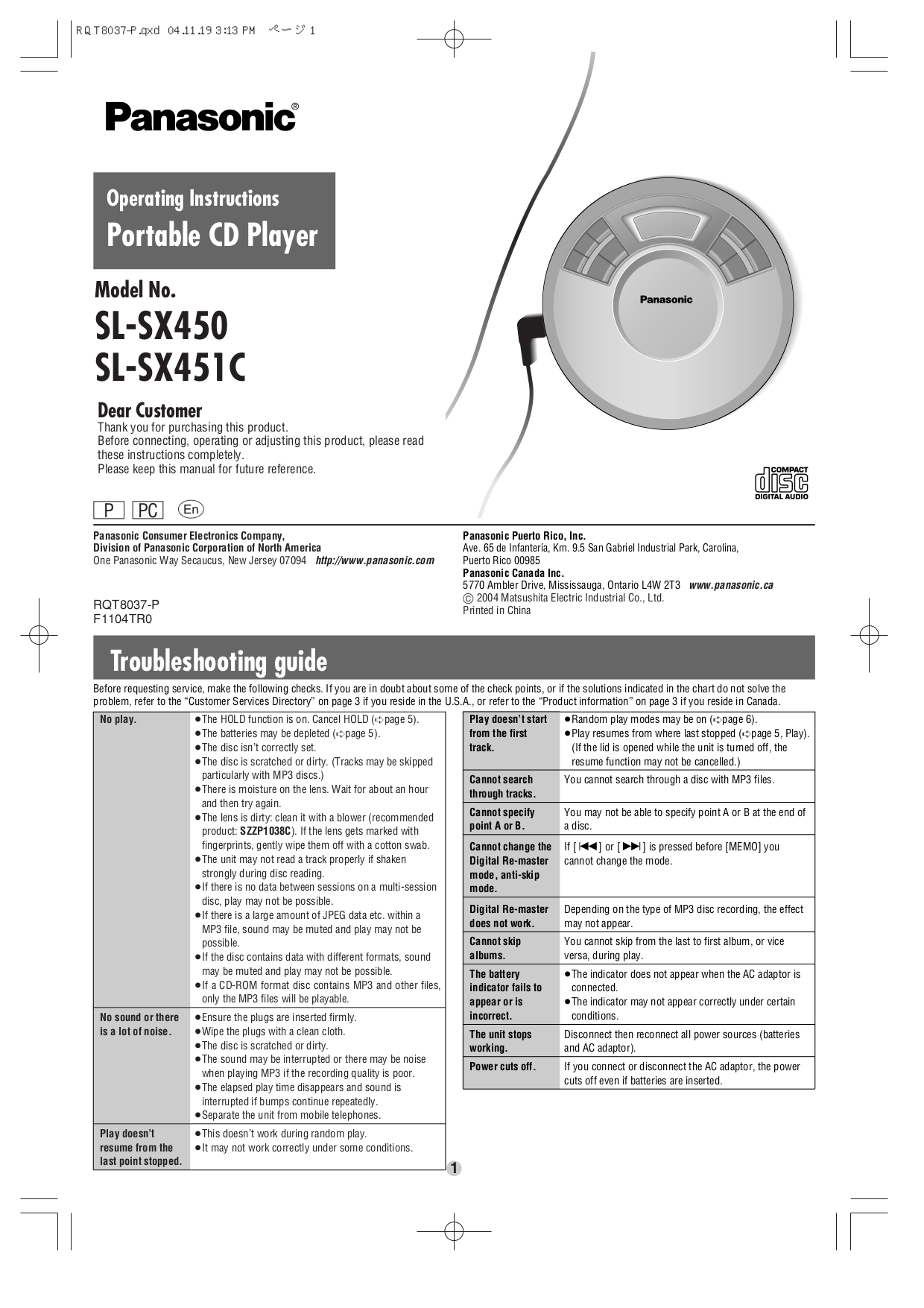 PDF manual for Panasonic CD Player SL-SX451C