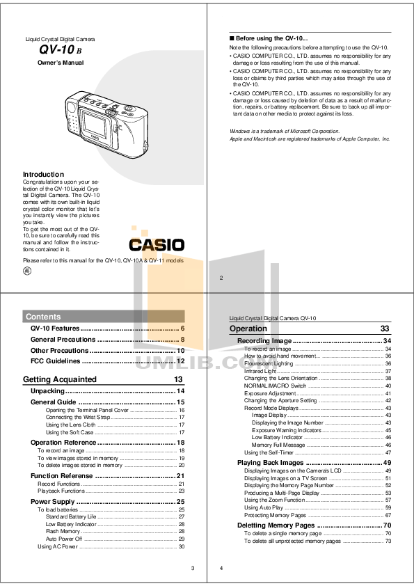 Download free pdf for Casio QV-10 Digital Camera manual