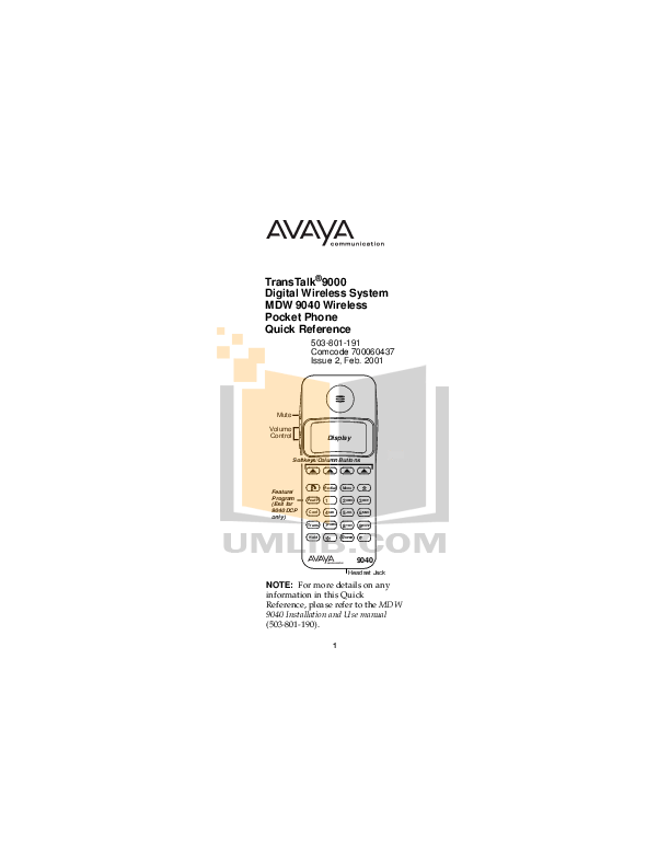 Download free pdf for Avaya MDW 9000 Telephone manual