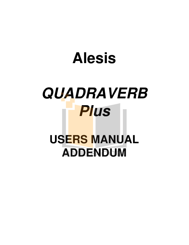 Download free pdf for Alesis QuadraVerb 2 Audio-digital