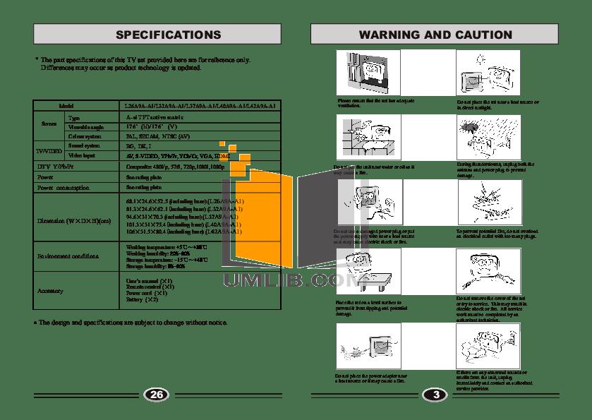 PDF manual for Haier TV L32A9A-A1
