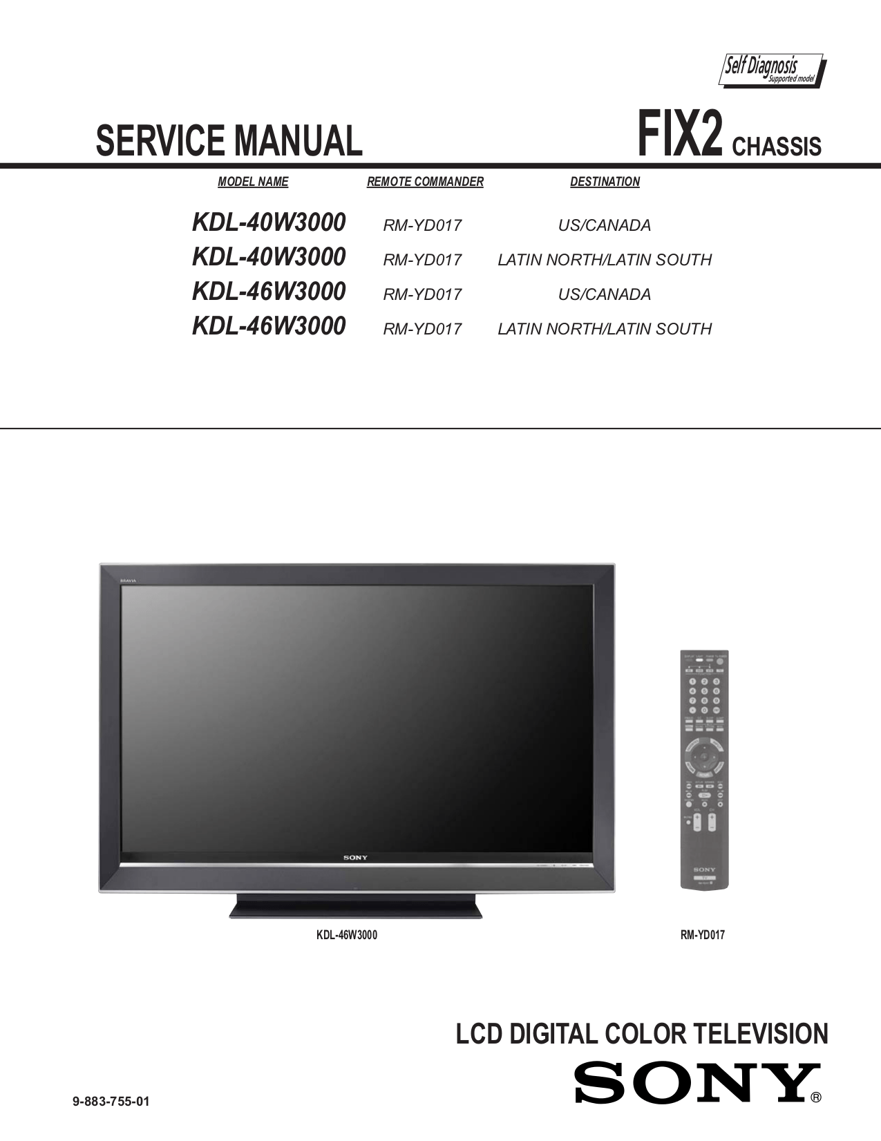 Sony Tv 29fx30 Service Manual