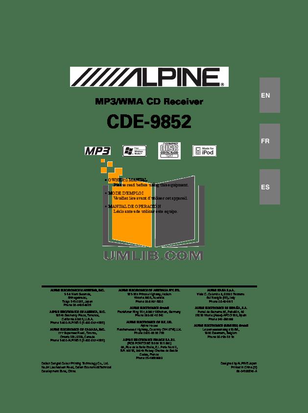 ALPINE CDE 9852 MANUAL EBOOK