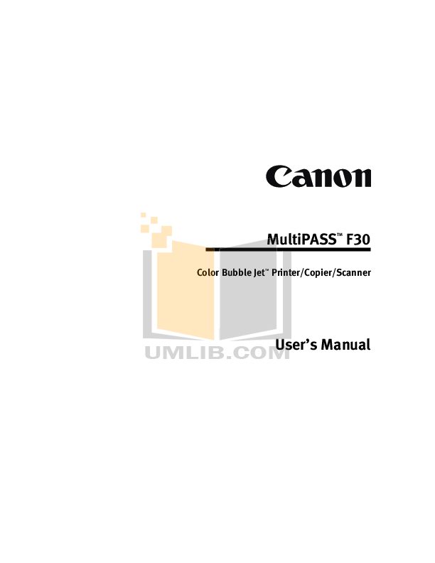 CANON MULTIFUNCTION F30 DRIVER DOWNLOAD
