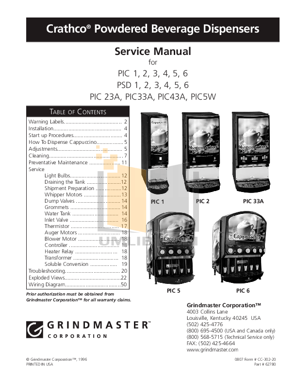 PDF manual for Grindmaster Coffee Maker PIC-5