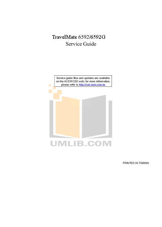 Download free pdf for Acer TravelMate 6592G Laptop manual