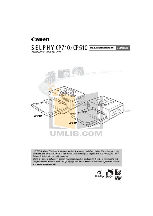 Download free pdf for Canon SELPHY CP510 Printer manual
