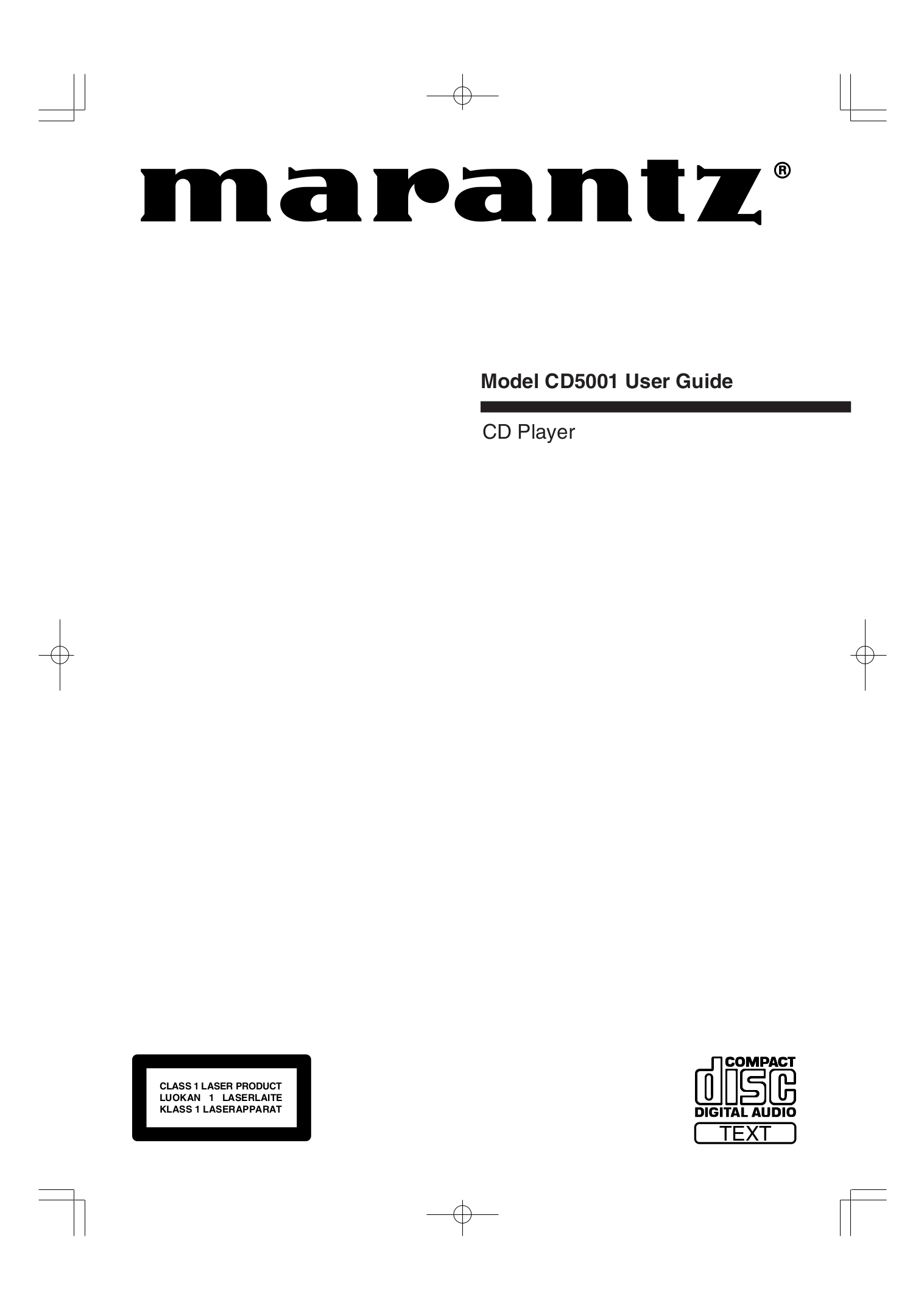 Download free pdf for Marantz CD5001 CD Player manual