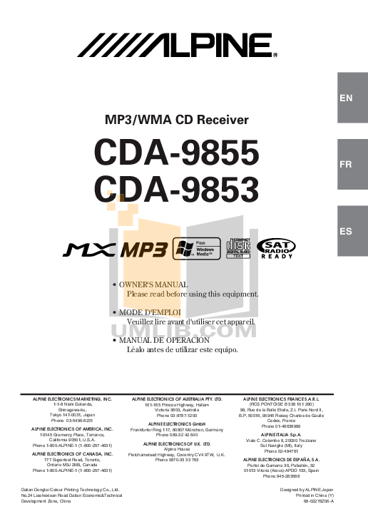 Download free pdf for Alpine CDA-9853 Car Receiver manual