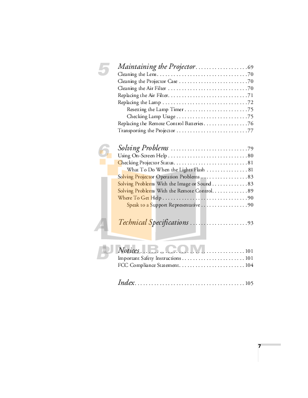 PDF manual for Epson Projector PowerLite 720c
