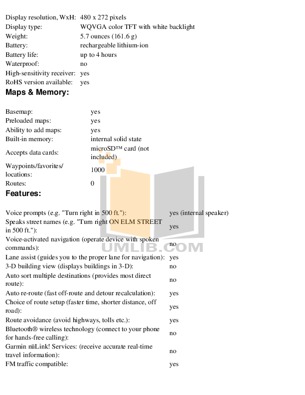 PDF manual for Garmin GPS Nuvi 1340