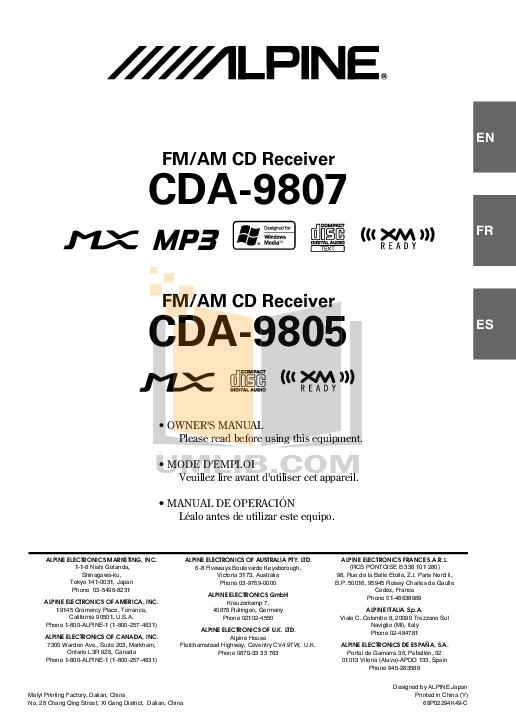 ALPINE CDA-9807 MANUAL PDF