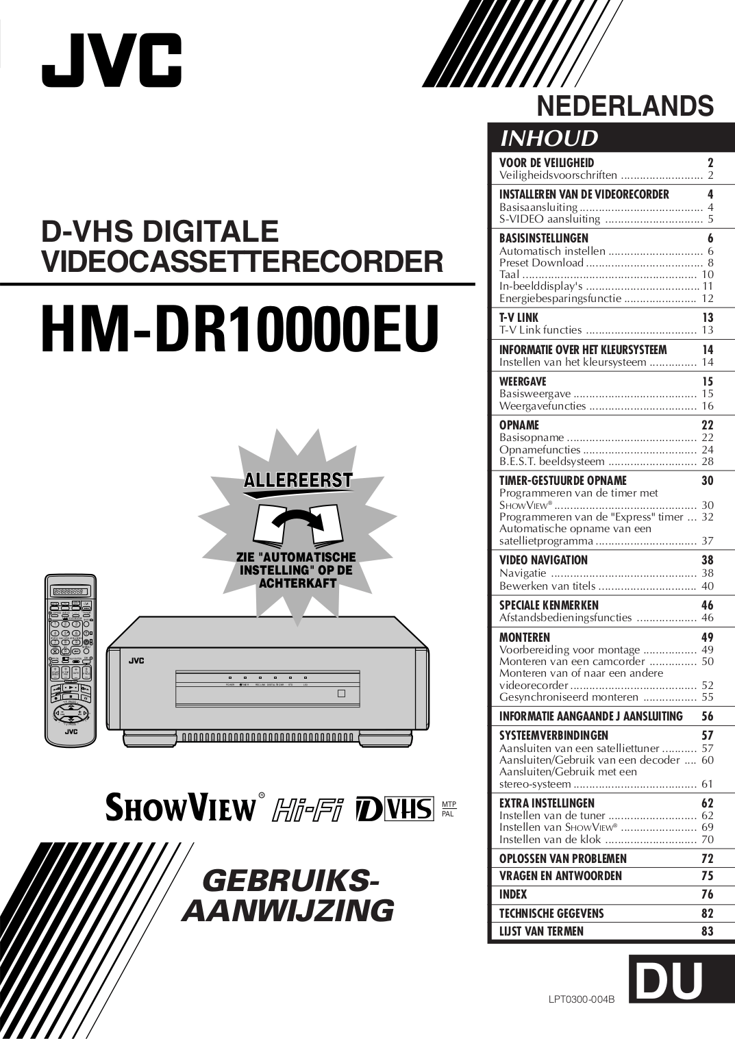 Download free pdf for JVC HM-DR10000EU VCR manual