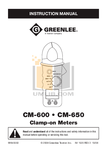 Download free pdf for Greenlee CM-650 Digital Meters Other