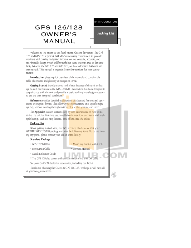 PDF manual for Garmin GPS GPS 128