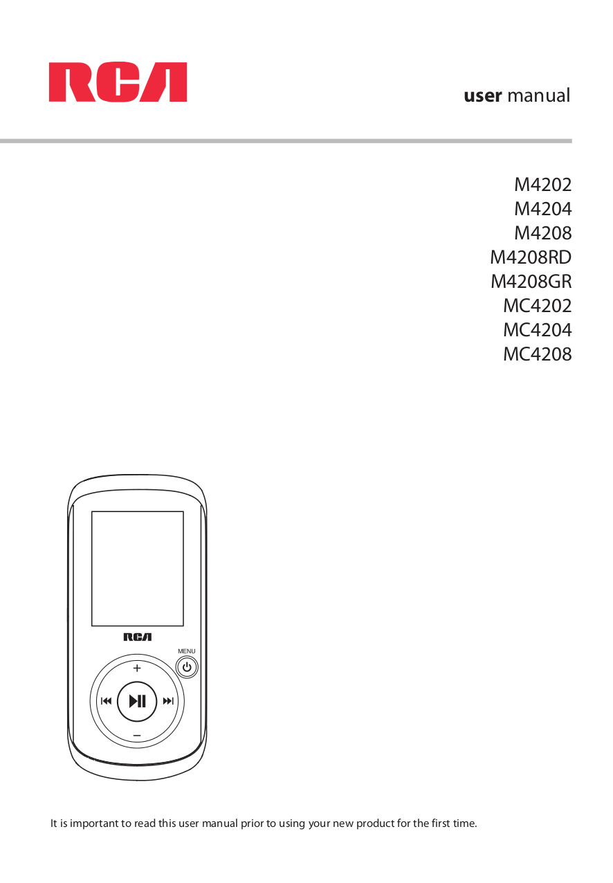 Download free pdf for RCA Opal M4204 MP3 Player manual