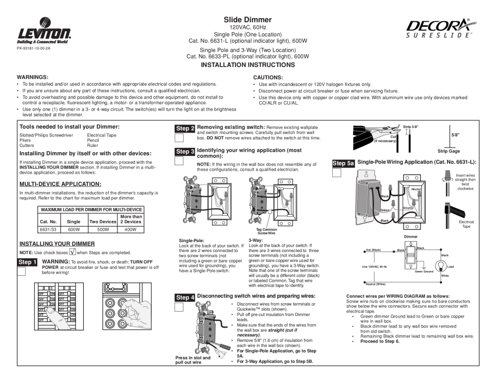 medium resolution of download free pdf for leviton sureslide 6631 l dimmers other manual leviton 6633 p wiring diagram leviton 6633 p wiring diagram