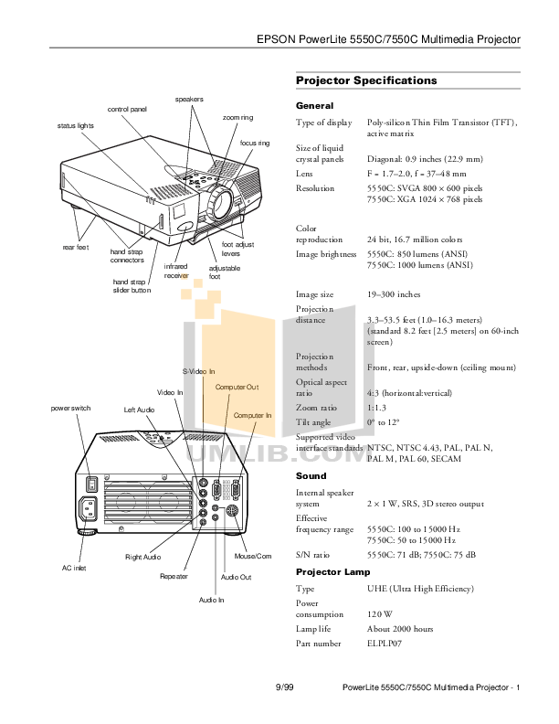 Download free pdf for Epson PowerLite 7550c Projector manual