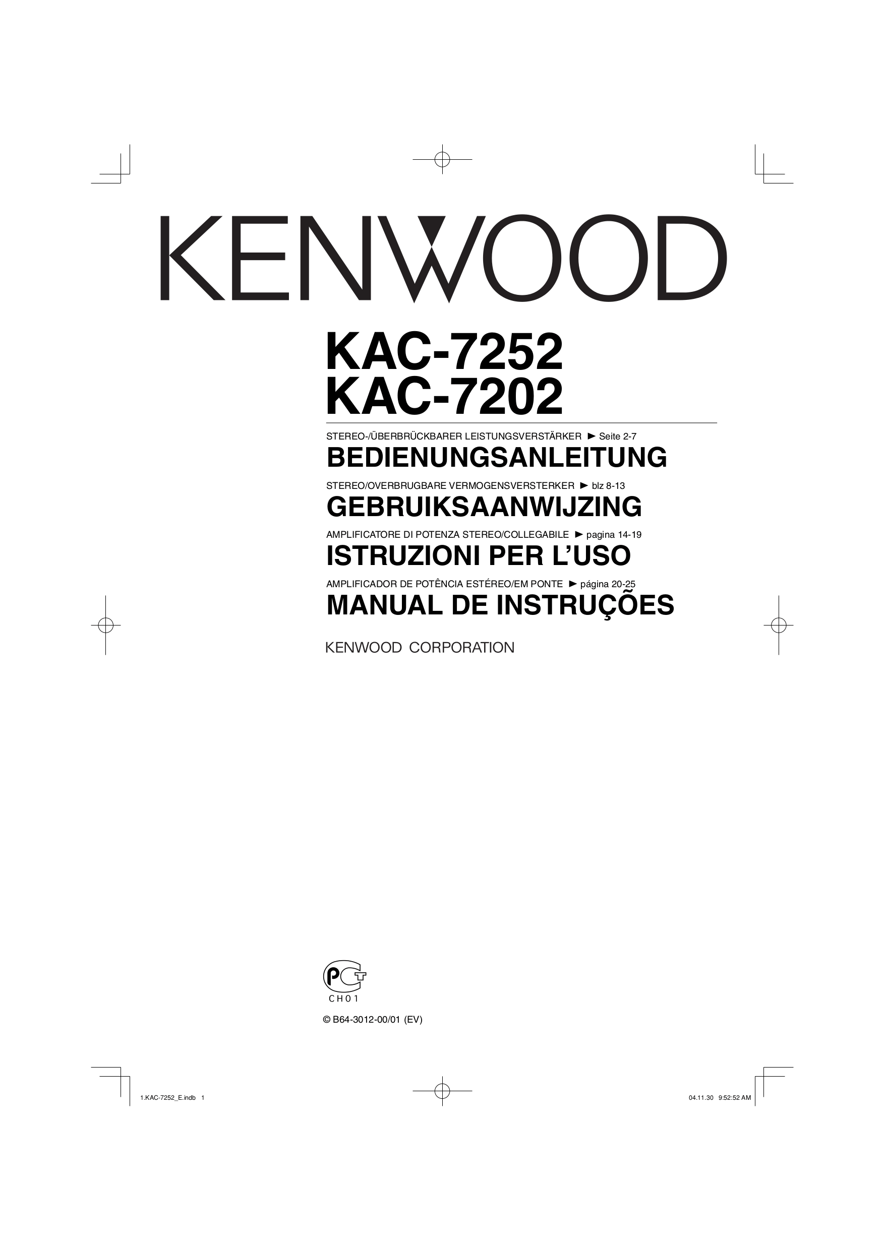 Download free pdf for Kenwood KAC-7202 Car Amplifier manual