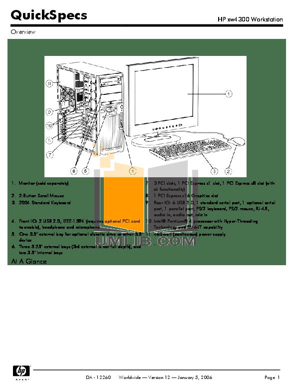 Download free pdf for HP xw4300 Desktop manual