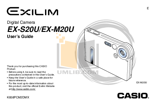 Download free pdf for Casio Exilim EX-S20U Digital Camera