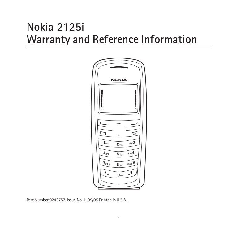 Download free pdf for Nokia 2125 Cell Phone manual
