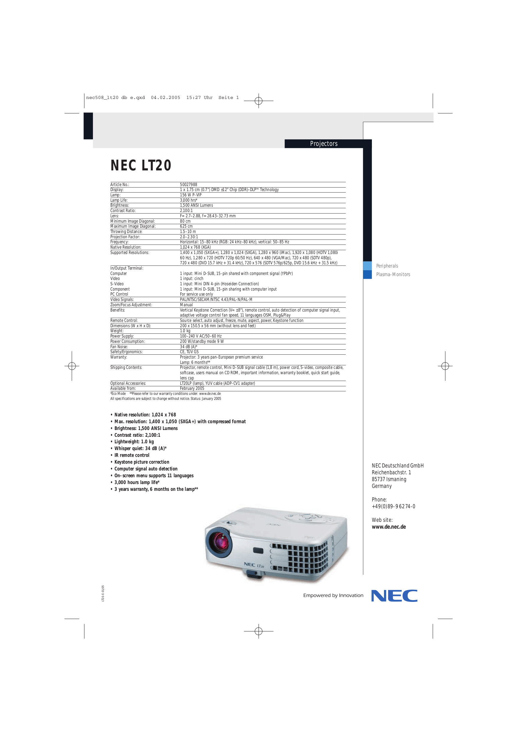 Download free pdf for NEC LT20 Projector manual