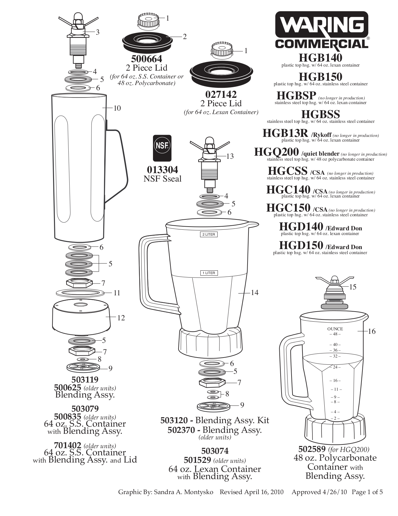 Download free pdf for Waring HGB150 Blender manual