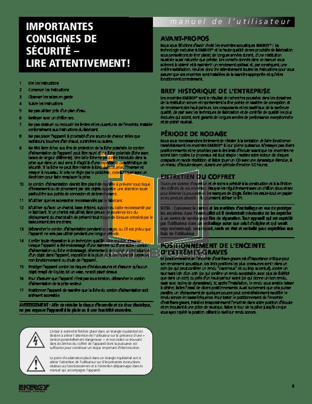 PDF manual for Energy Subwoofer ESW-V10