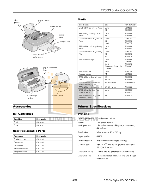 PDF manual for Epson Printer Stylus Color 740i