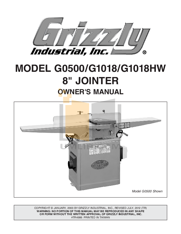 Grizzly 8 Jointer G1018