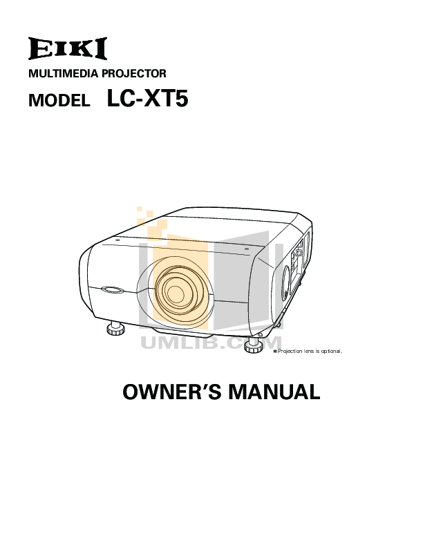 Download free pdf for Eiki LC-X3 Projector manual