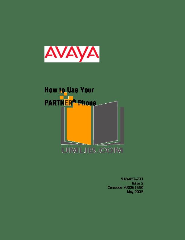 Download free pdf for Avaya Partner MLS 34D Telephone manual