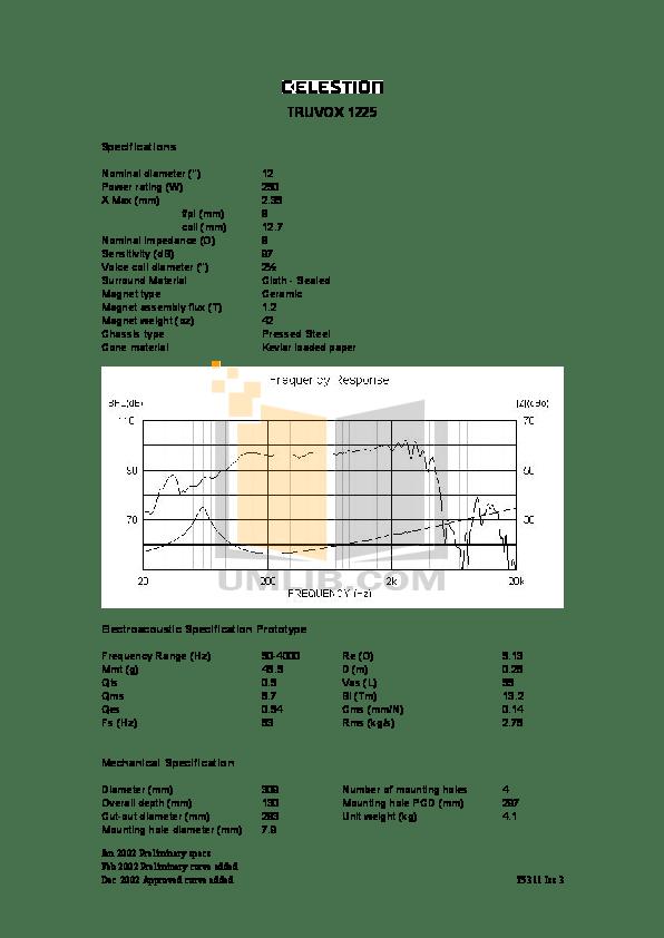 Download free pdf for Celestion Truvox 1225 Speaker manual