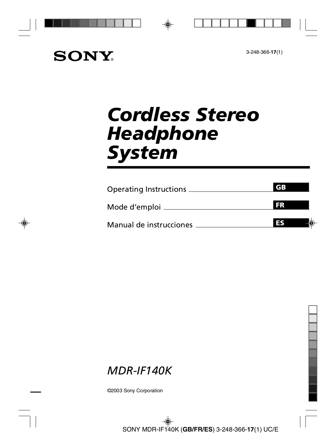 Download free pdf for Sony MDR-IF140 Headphone manual