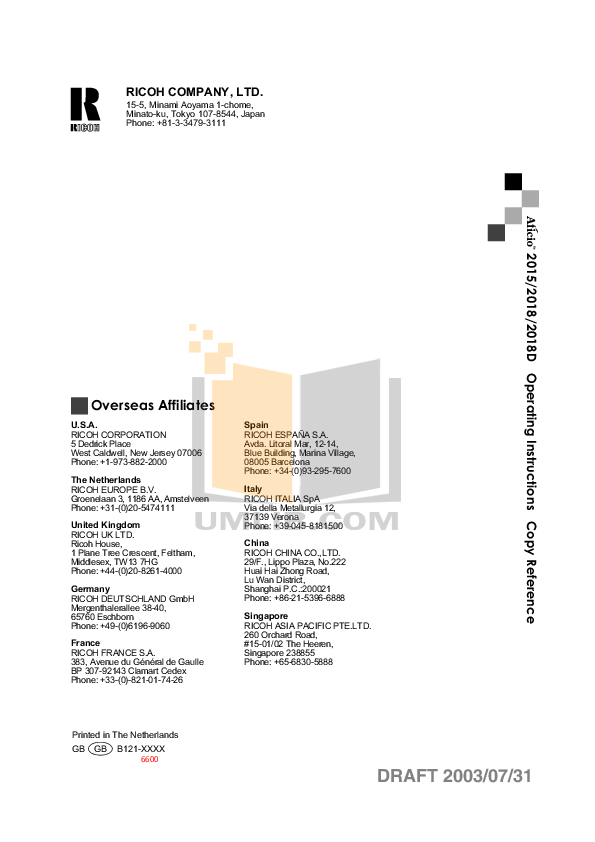 PDF manual for Gestetner Copier DSm618