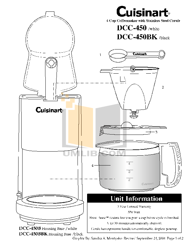Download free pdf for Cuisinart DCC-450 Coffee Maker manual
