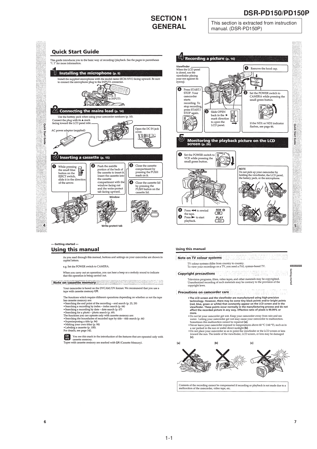 PDF manual for Sony Camcorders DSR-PD150