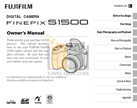Download free pdf for FujiFilm Finepix S1500 Digital
