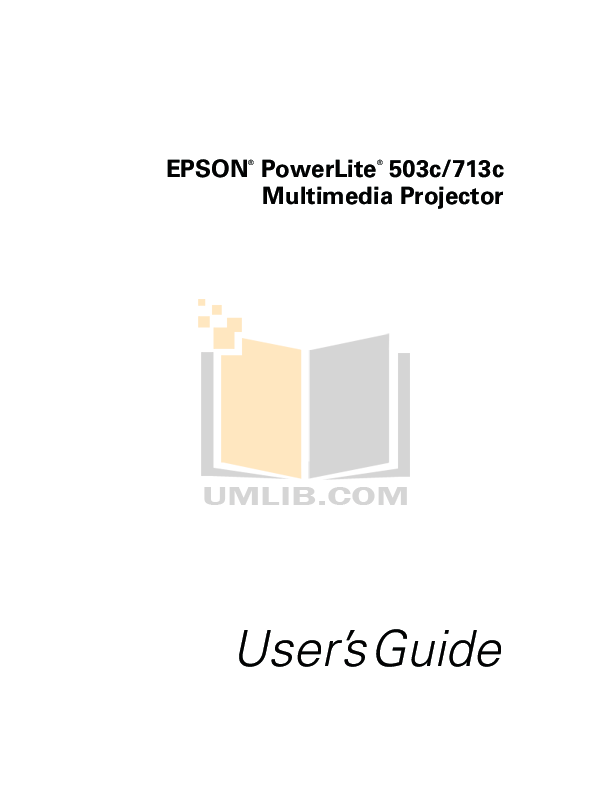 Download free pdf for Epson PowerLite 503c Projector manual