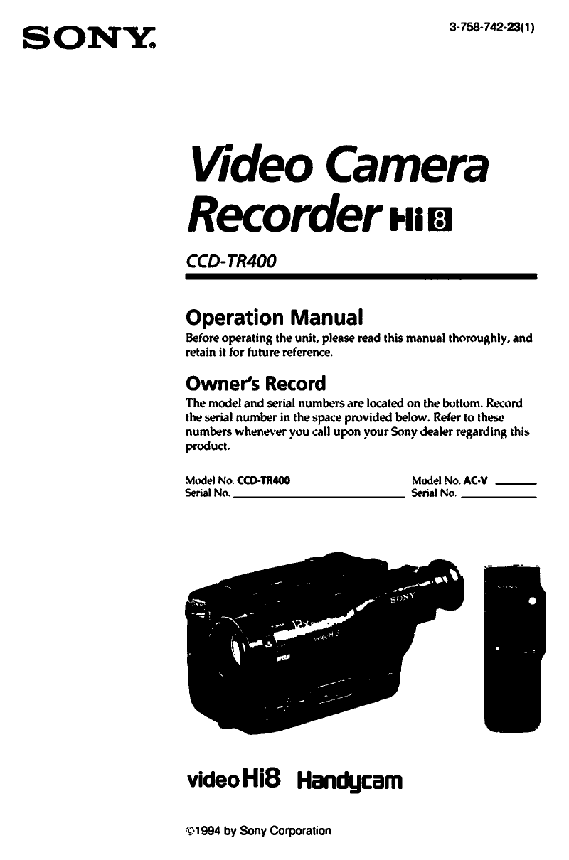 Download free pdf for Sony Handycam CCD-TR400 Camcorders